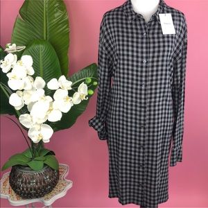 Theory Black Multi Soft Gingham Panel Shirt Dress